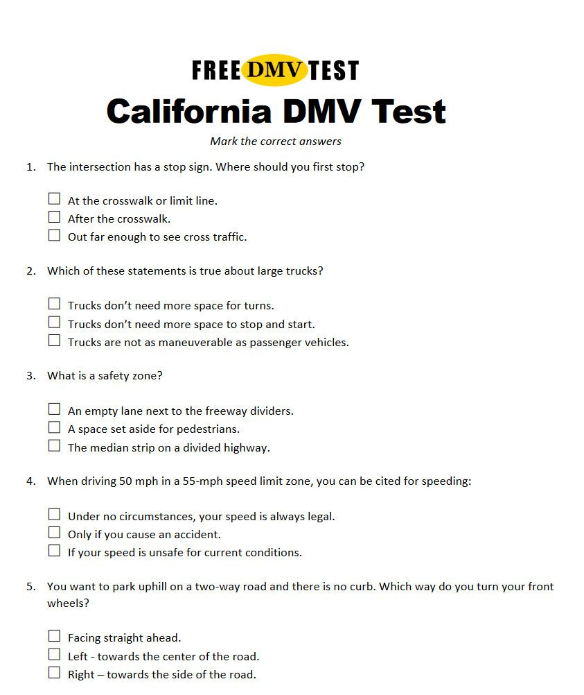 California Driver's License Test Examples